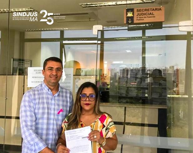 Advogada Doriana Camello e o secretário-geral do Sindjus-MA, Márcio Luís Andrade