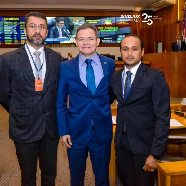 Márcio Luís Andrade (secretário-geral), deputado Rafael Leitoa (PDT) e Fagner Damasceno (diretor financeiro)