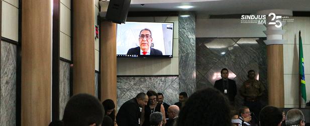 O advogado Cezar Britto, que assessora o Sindjus-MA na ADI das atribuições, fez a sustentação oral por meio de videoconferência