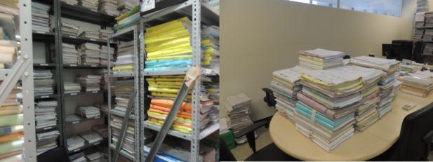 O excesso de processo prejudica também o trabalho dos magistrados, se acumulando os processos conclusos(direita) e para audiência(esquerda).
