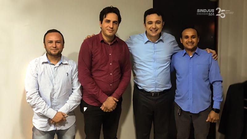 O membro do Conselho de Ética do Sindjus-MA, Rivaldo Fonseca, o secretário de Convênios, Jair Flávio dos Santos, o deputado Dr. Yglésio Moyses, e o diretor financeiro do Sindicato, Fagner Damasceno