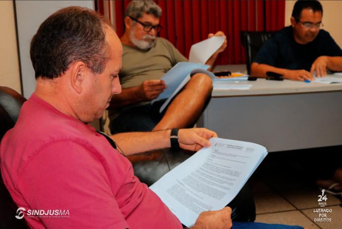 Anísio Júnior, Nonato Moraes, membros do Conselho de Ética, e o presidente do Sindjus-MA, Aníbal Lins