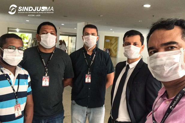 A diretoria do Sindjus-MA realizou inspeção no Fórum de São Luís para averiguar sobre possíveis situações de descumprimento da Resolução 313 do CNJ e da Portaria nº 14/2020 do TJMA