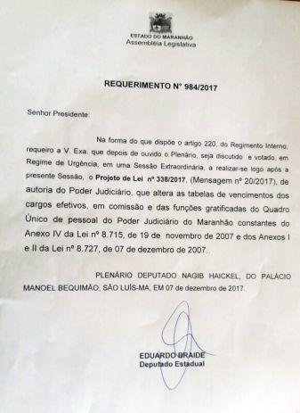 Requerimento apresentado pelo deputado Eduardo Braide (PMN)