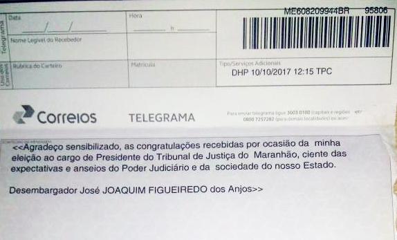 Telegrama enviado pelo desembargador